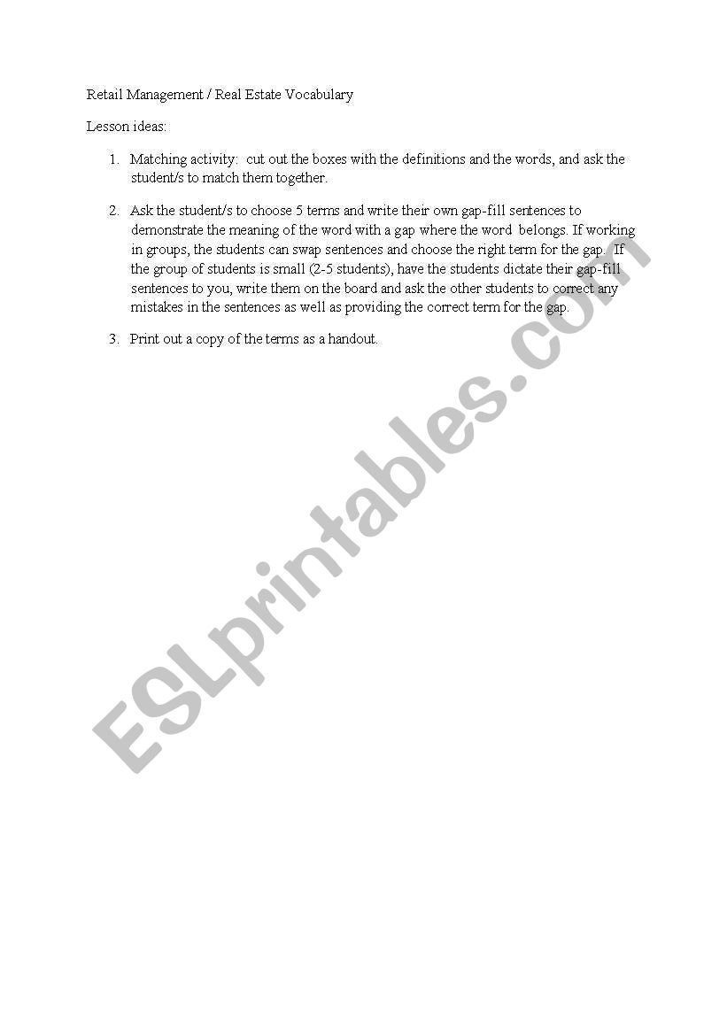 English Worksheets Retail Management And Real Estate Terminology Pertaining To Real Estate Vocabulary Worksheet