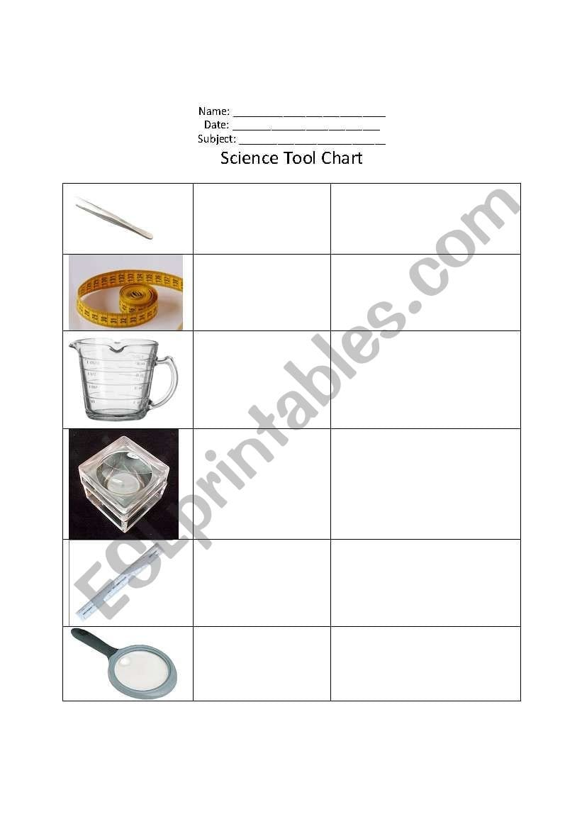 English Worksheets Science Tools Chart In Science Tools Worksheet