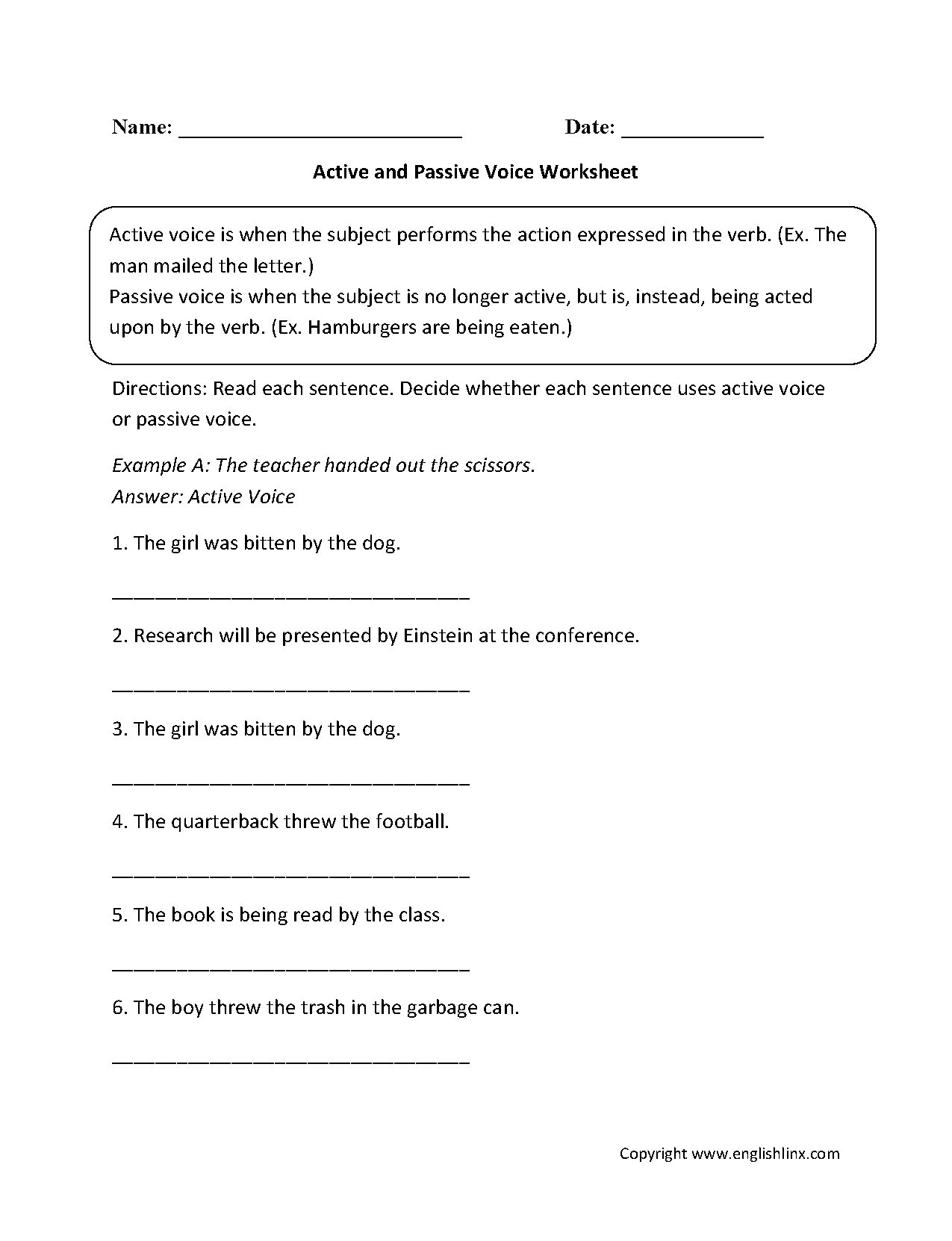 Englishlinx  Active And Passive Voice Worksheets And Passive Voice Worksheets