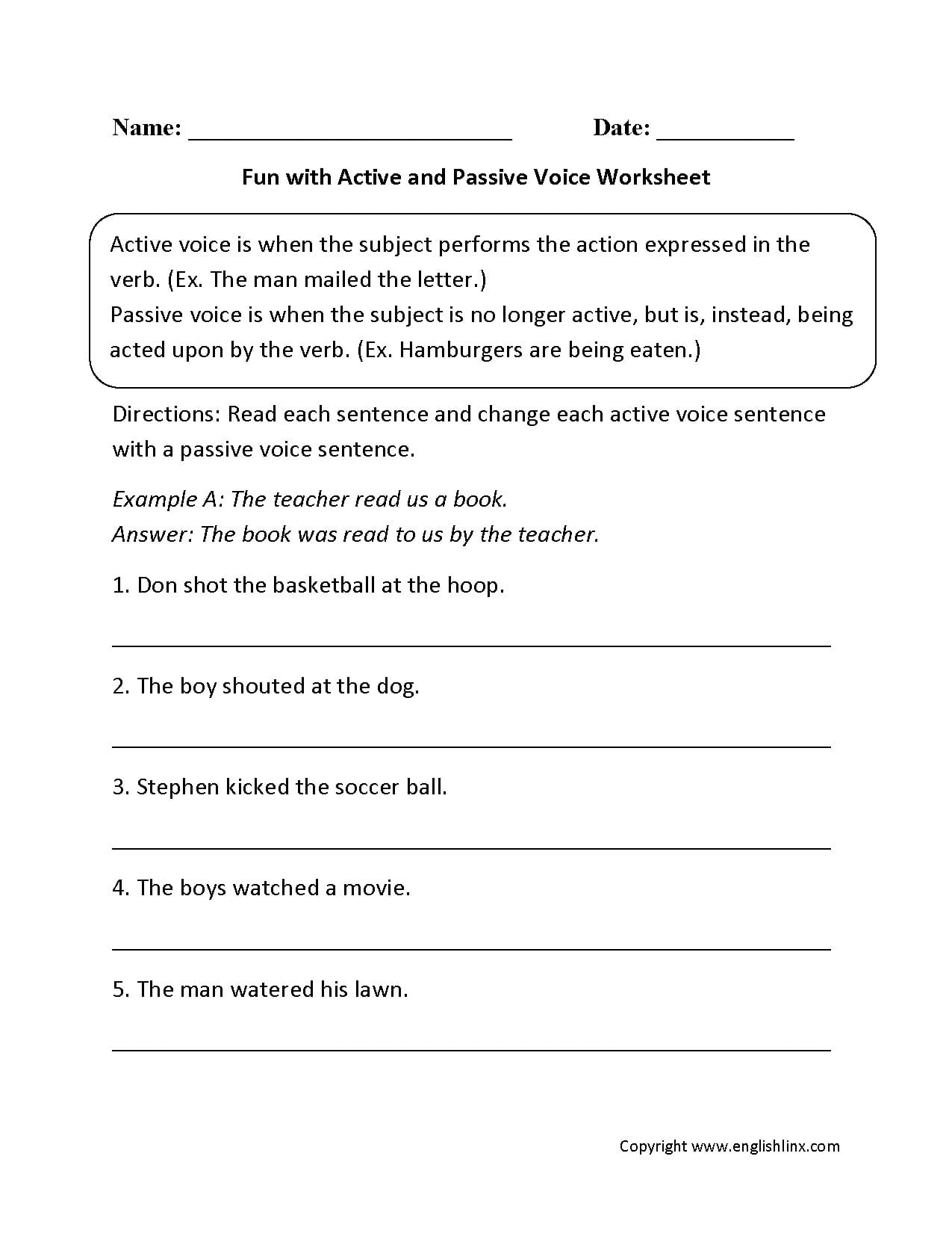 Englishlinx  Active And Passive Voice Worksheets With 6Th Grade English Worksheets