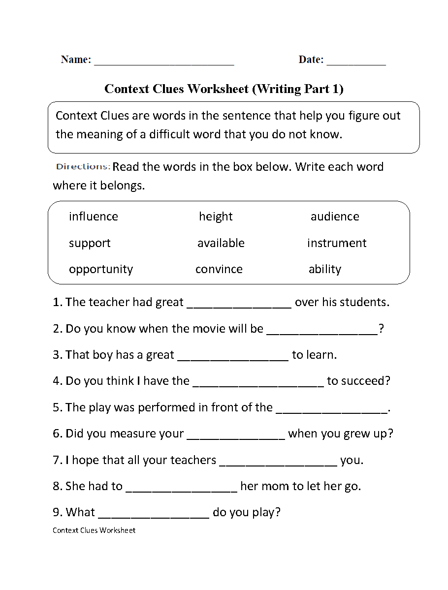 Englishlinx  Context Clues Worksheets Also Context Clues Worksheets 5Th Grade