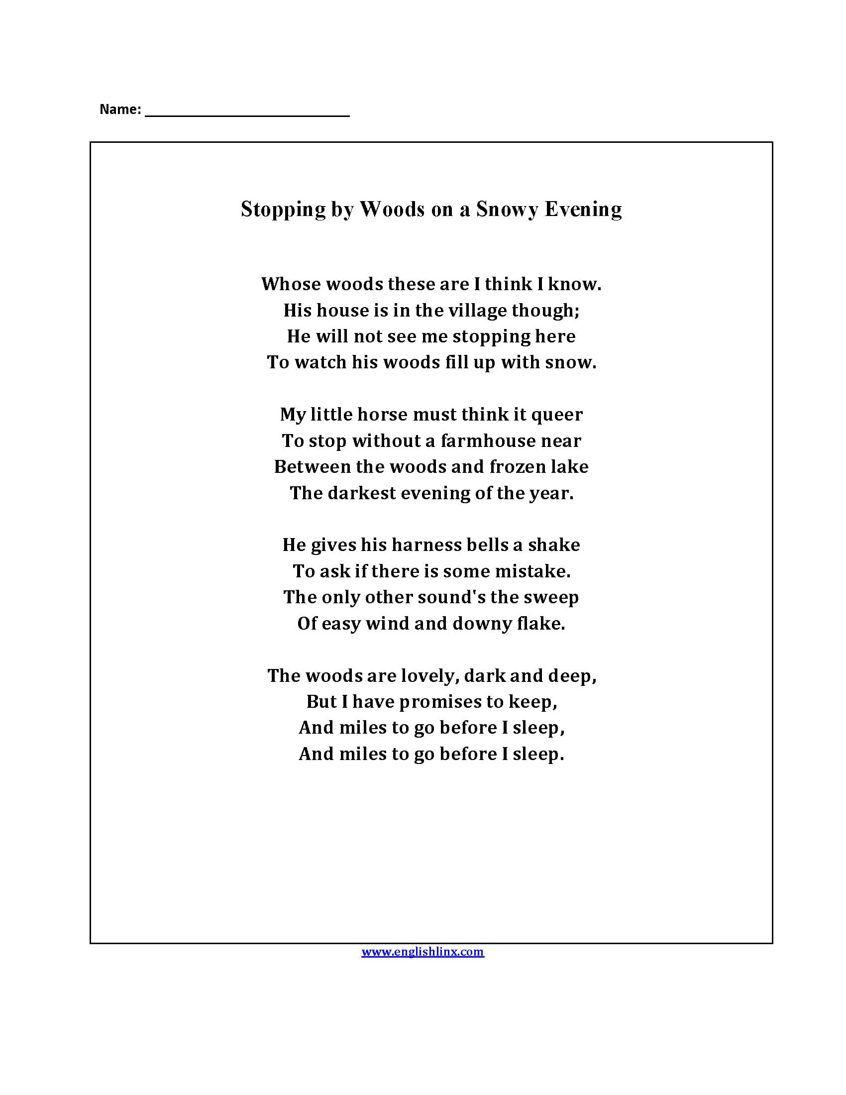 Englishlinx  Poetry Worksheets For 4Th Grade Poetry Worksheets