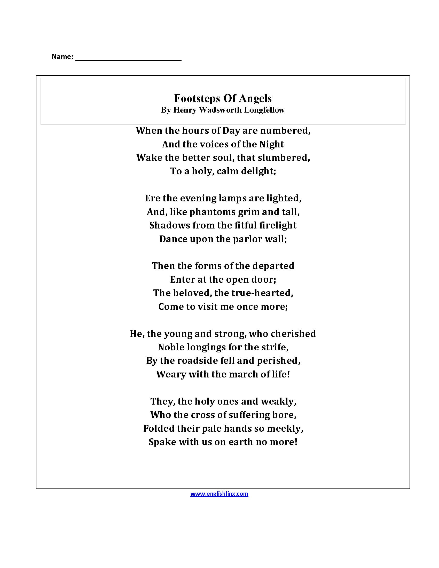Englishlinx  Poetry Worksheets With 4Th Grade Poetry Worksheets