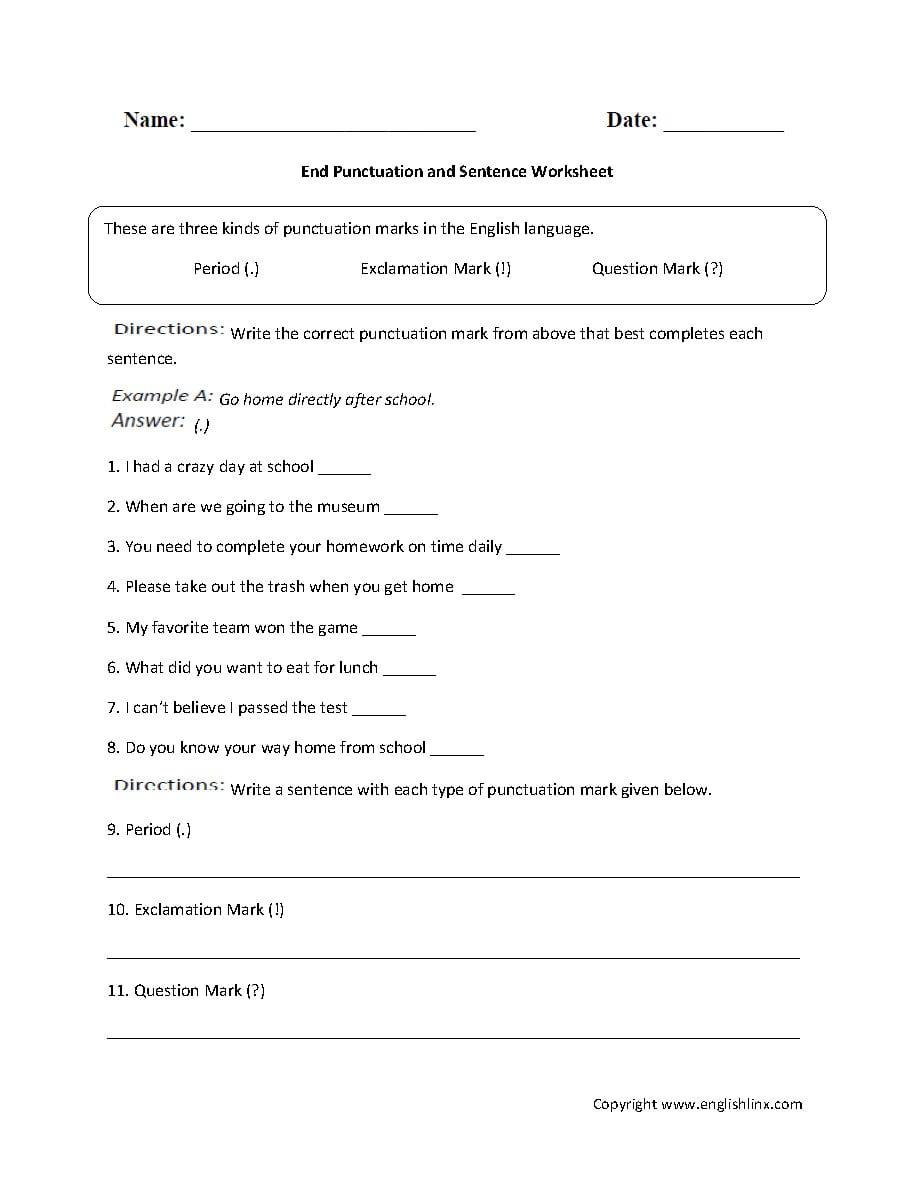 Englishlinx  Punctuation Worksheets Or 6Th Grade English Worksheets