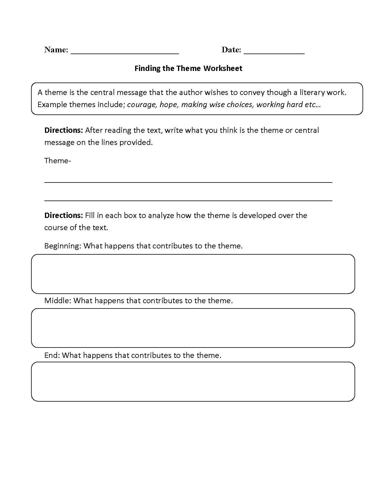 Englishlinx  Theme Worksheets And Theme Worksheets 4Th Grade