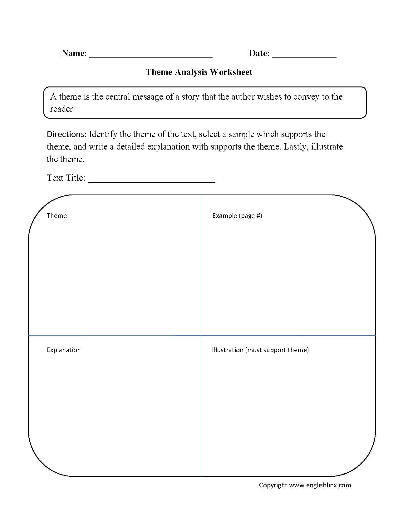 Englishlinx  Theme Worksheets Regarding Theme Worksheets 4Th Grade