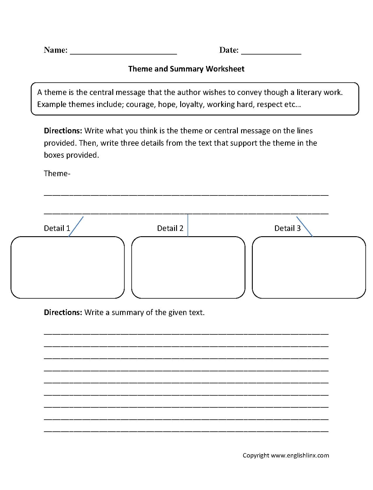 Englishlinx  Theme Worksheets Within Theme Worksheets 4Th Grade