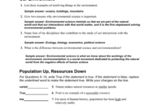 Environmental Science for Environmental Science Worksheet Answers