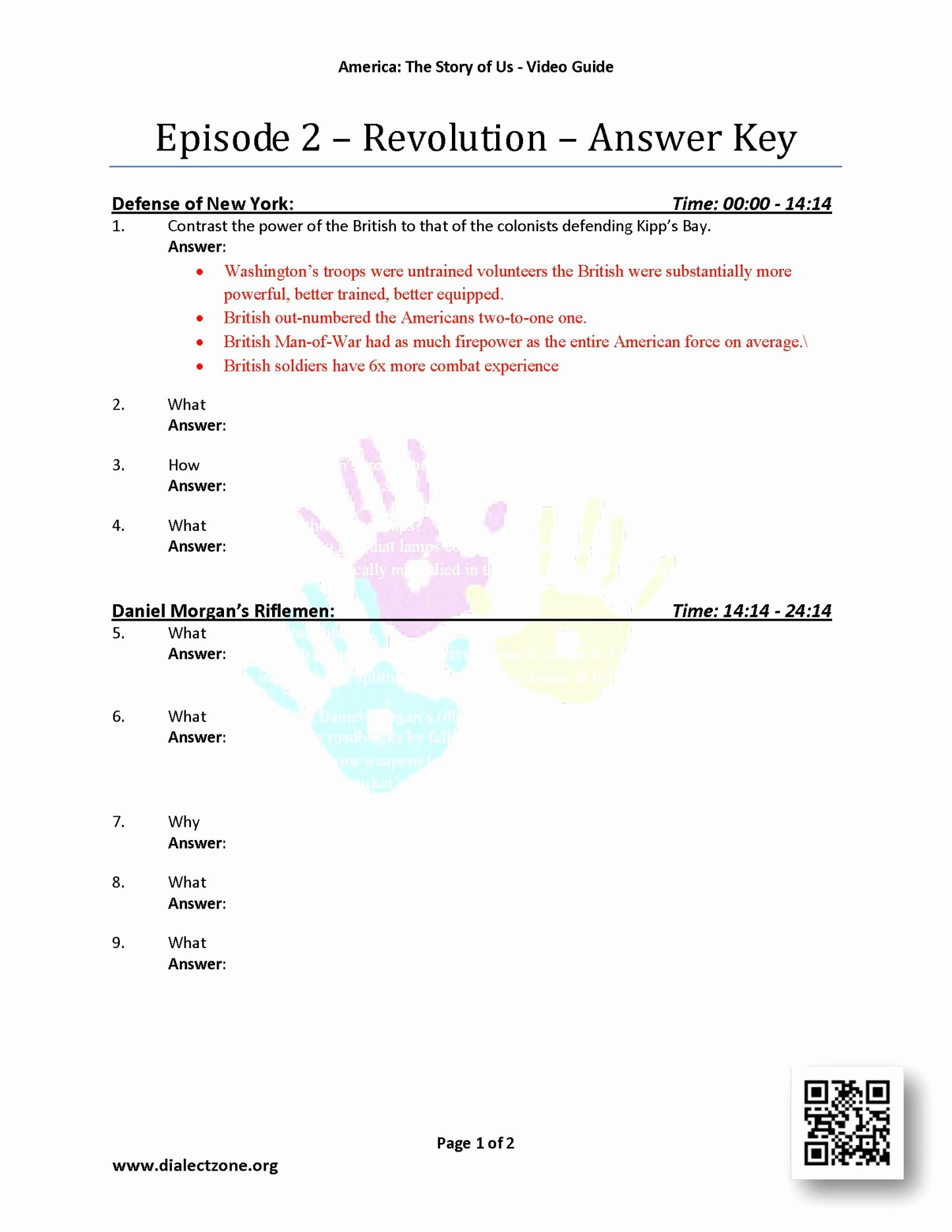 Episode  2 Revolution Worksheet Answers  Slubnesuknie With America The Story Of Us Episode 8 Worksheet Answer Key