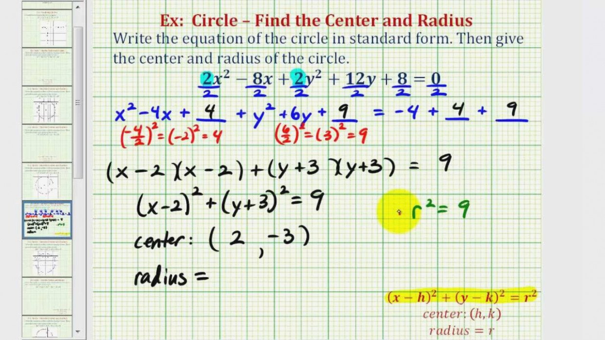 Equation Of A Circle Worksheet Worksheets For All  Download And Inside Standard Form Equation Of A Circle Worksheet Answers