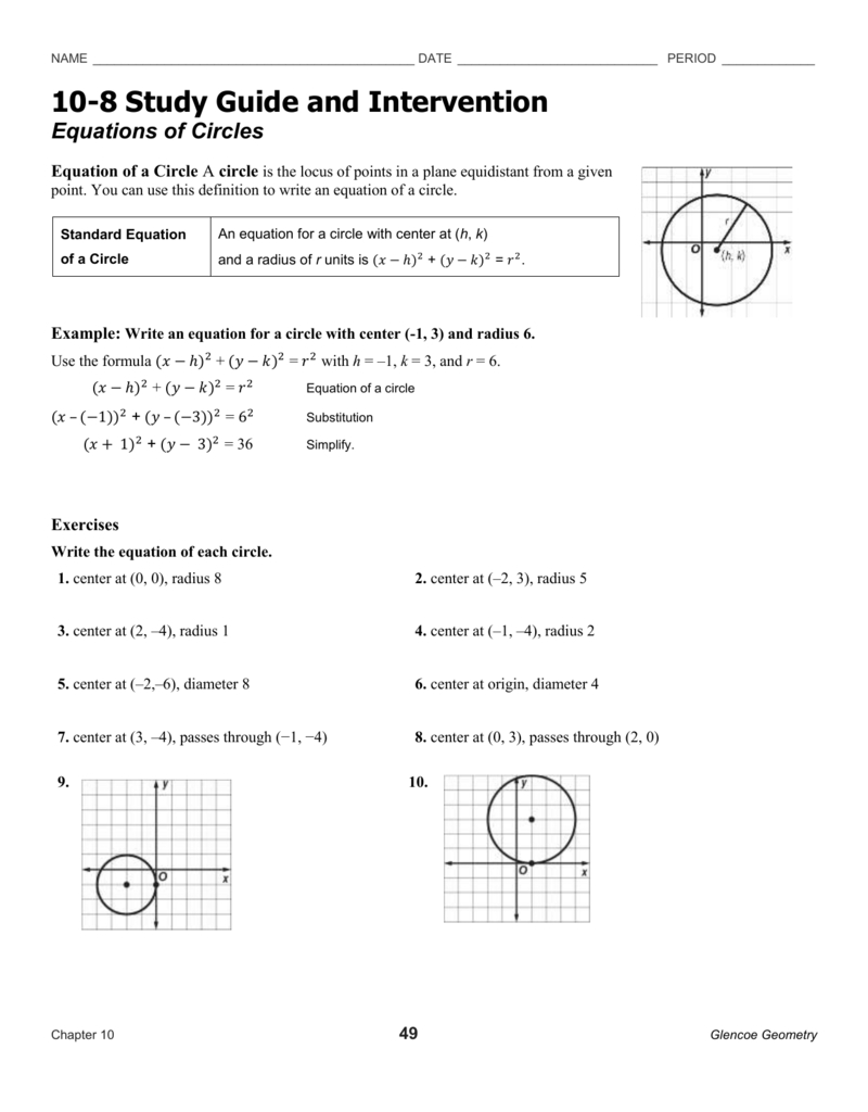 Equations Of Circles Worksheet In Standard Form Equation Of A Circle Worksheet Answers