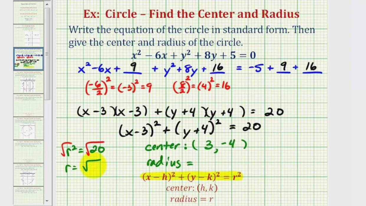 Ex 11 Write General Equation Of A Circle In Standard Form – Youtube Or Standard Form Equation Of A Circle Worksheet Answers