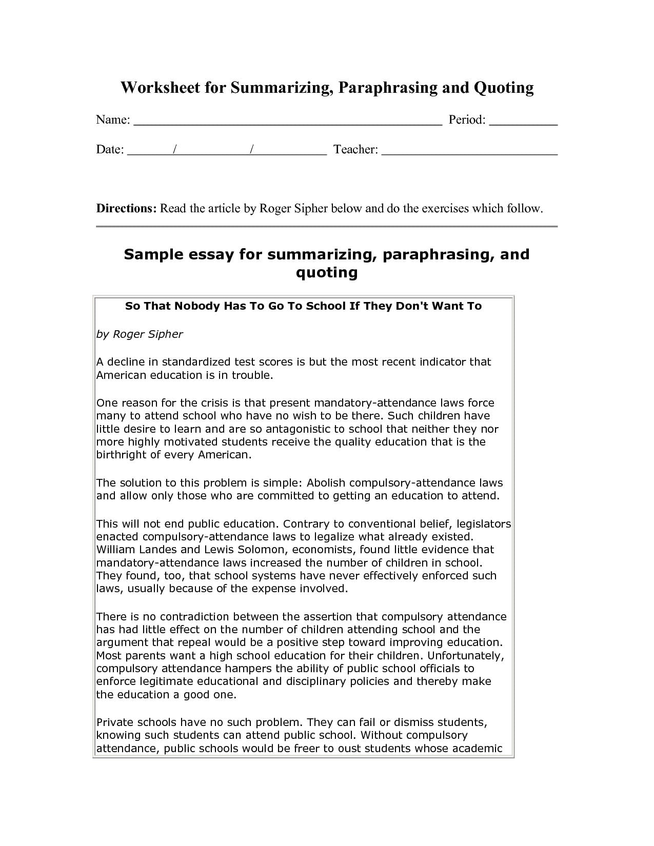 Example Of Summarizing Worksheets  Have Fun Summarizing Throughout Summarizing Worksheets Pdf