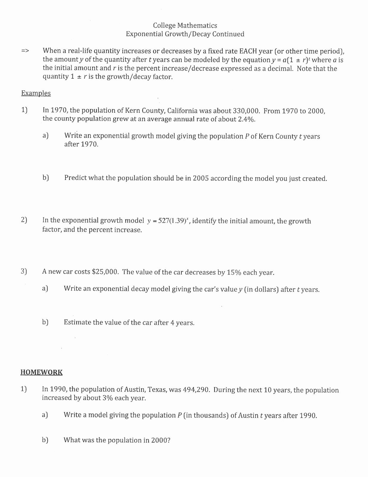 Exponential Growth And Decay Word Problems Worksheet Mean Median In Exponential Growth And Decay Word Problems Worksheet Answers