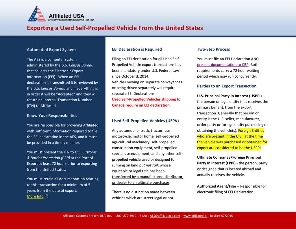 Exporting A Used Selfpropelled Vehicle In U S Customs Vehicle Export Worksheet