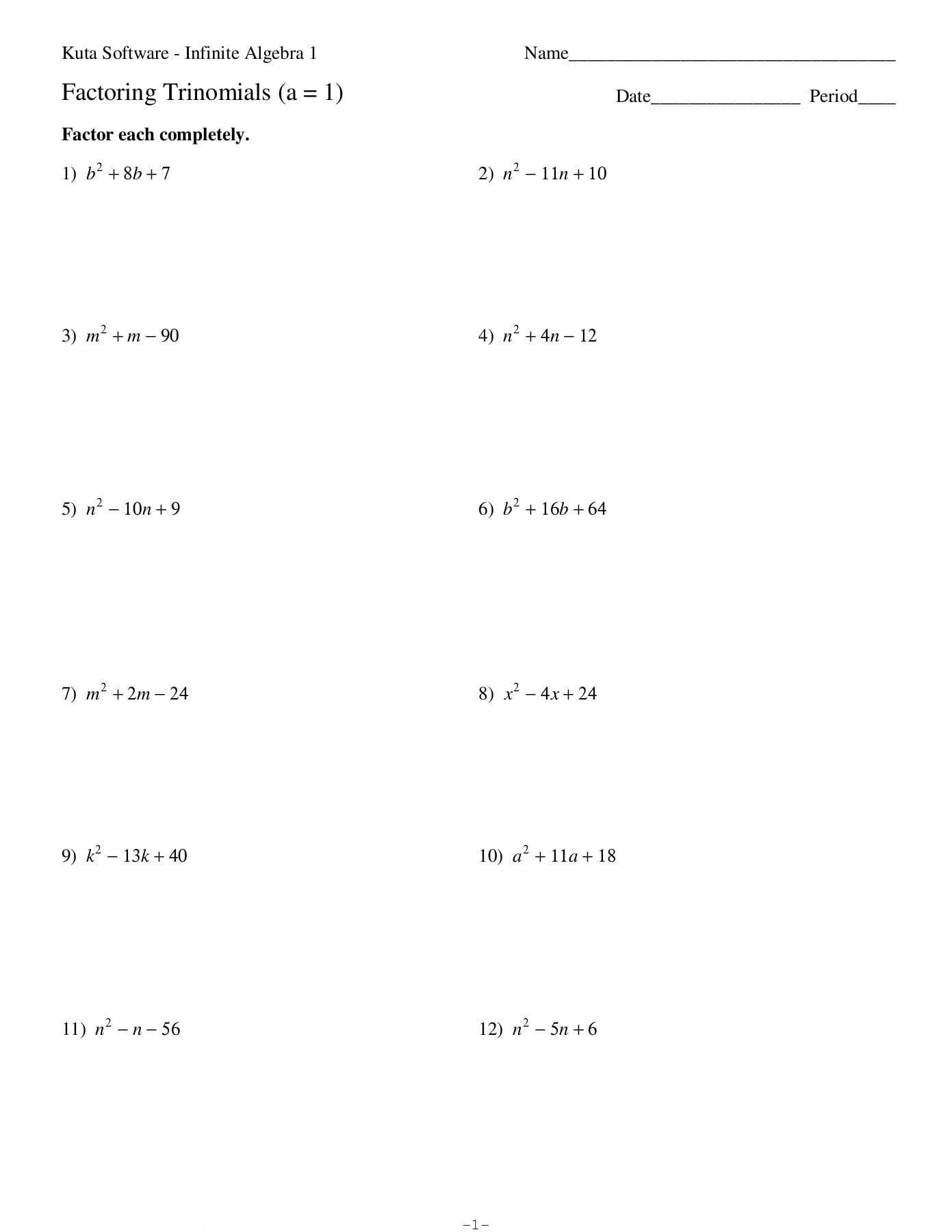 Factoring Trinomials A  1 Date Period  Kuta Software Llc Pages 1 As Well As Factoring Trinomials A 1 Worksheet