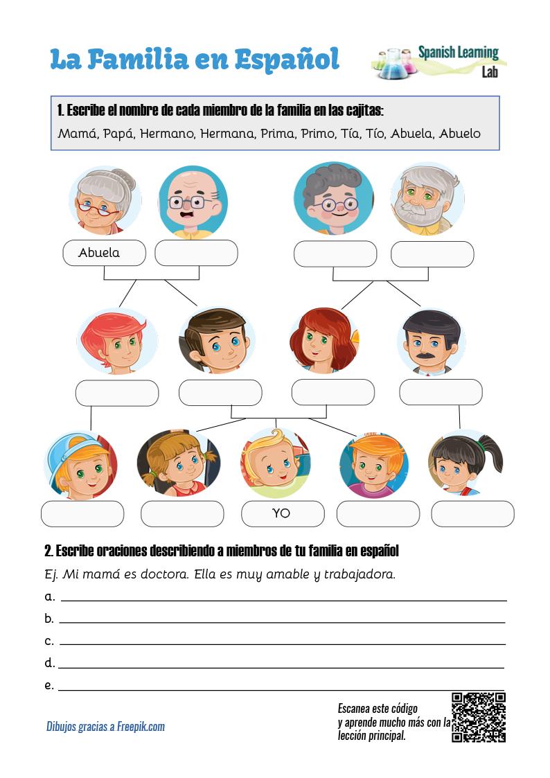 Family Members In Spanish Pdf Worksheet  Spanishlearninglab In Basic Spanish Worksheets Pdf