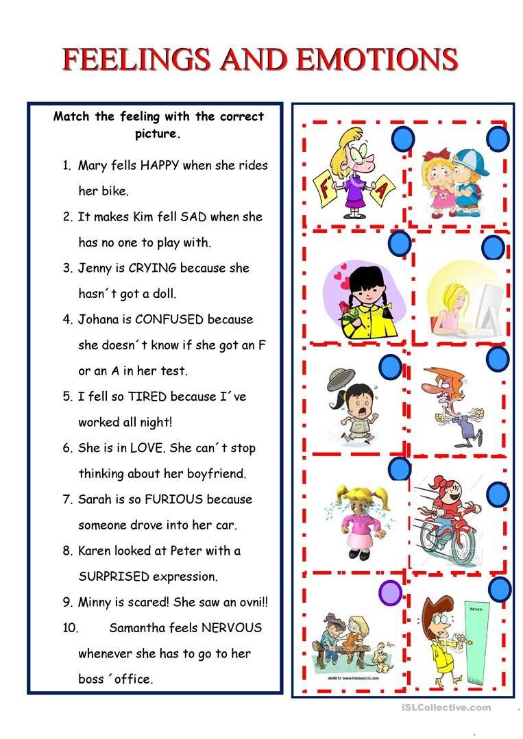 Feelings And Emotions Worksheet  Free Esl Printable Worksheets Made Intended For Feelings And Emotions Worksheets Printable