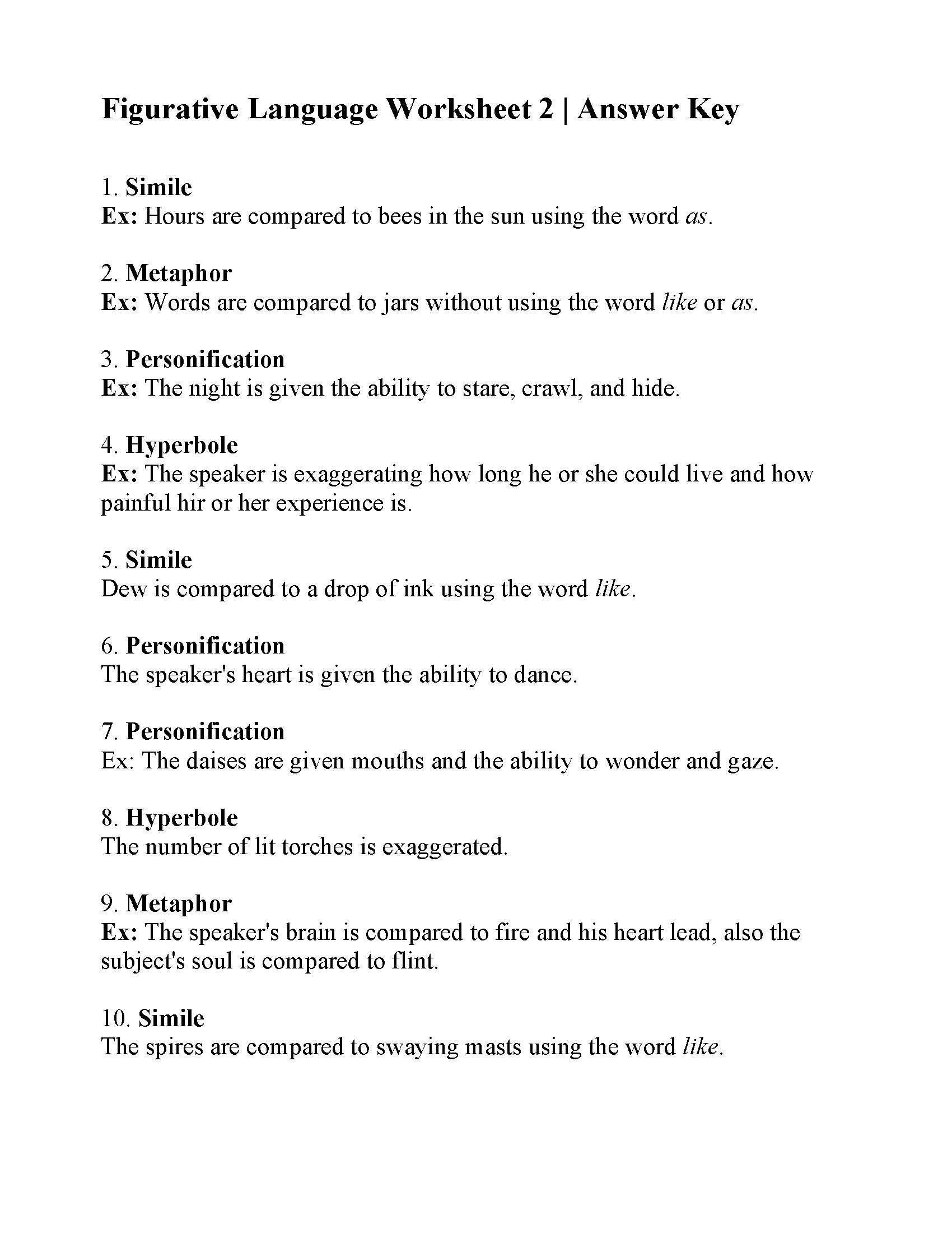 Figurative Language Worksheet 2  Answers Inside Hatchet Figurative Language Worksheet Answers
