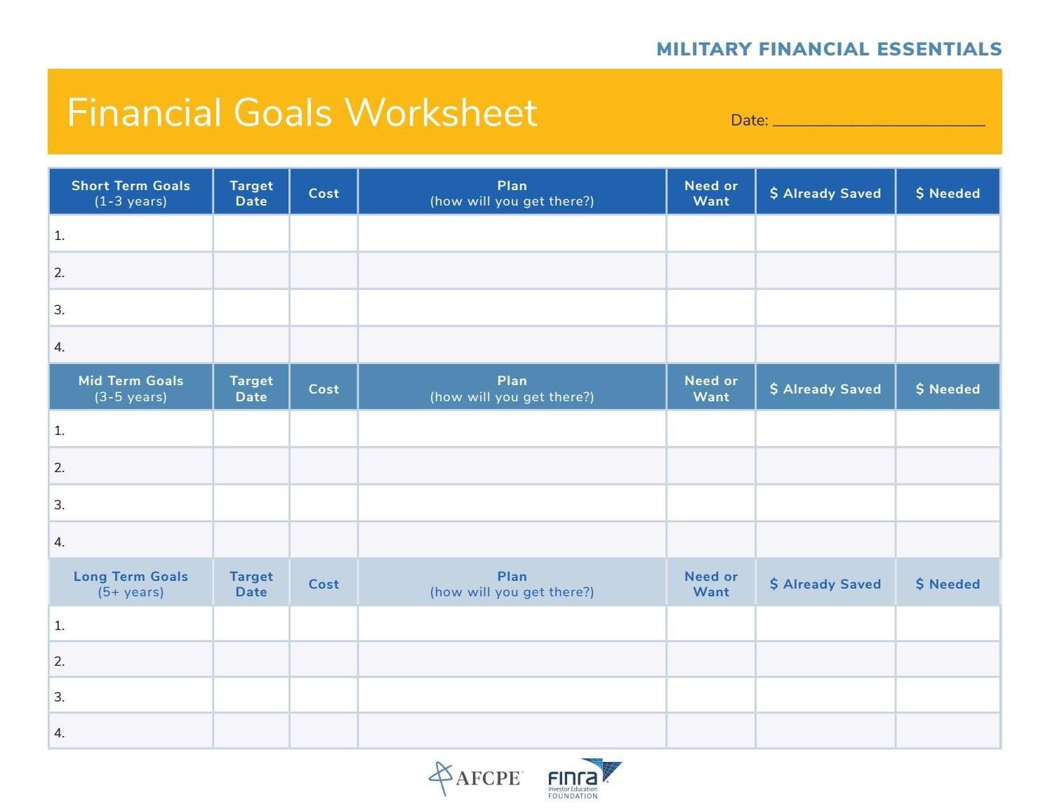Financial Goals Worksheethhc 807Th Mcds  Issuu Pertaining To Financial Goals Worksheet