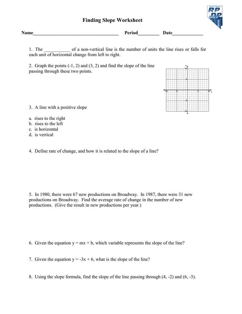 Finding Slope Worksheet Regarding 5 4 Slope As A Rate Of Change Worksheet