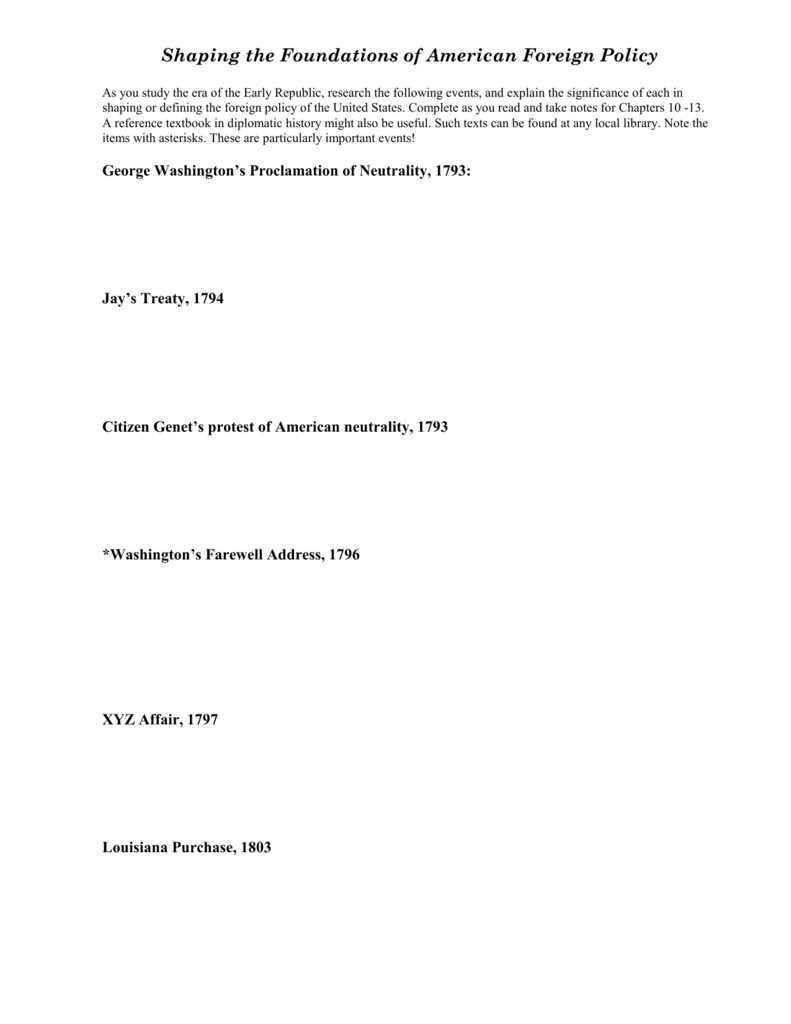 Foundations Of American Foreign Policy For Foundations Of American Foreign Policy Worksheet