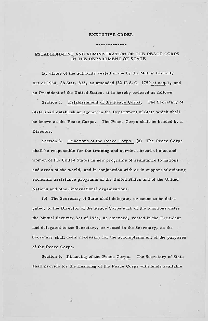 Founding Documents Of The Peace Corps  National Archives In The New Frontier And The Great Society Worksheet Answers