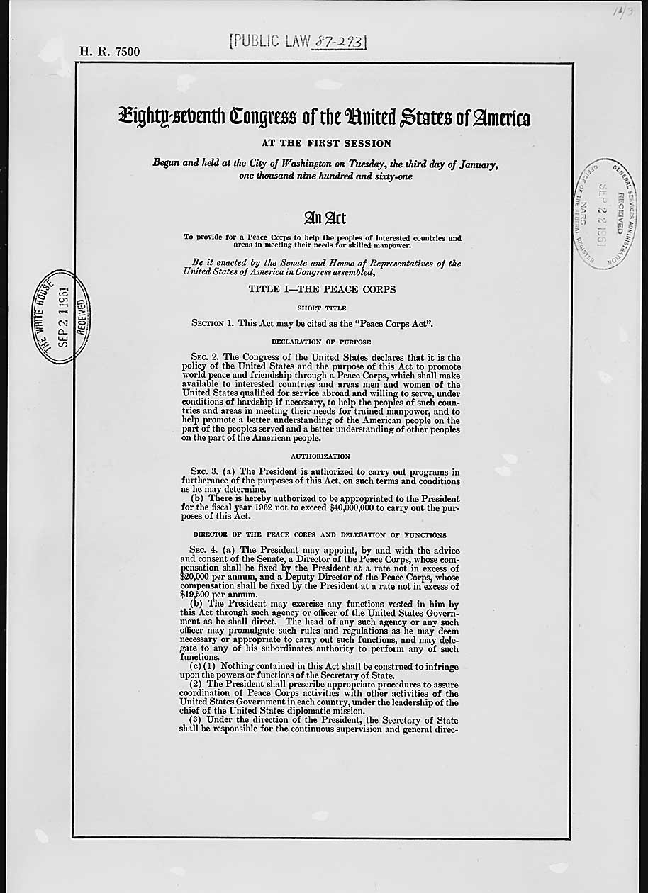 Founding Documents Of The Peace Corps  National Archives Intended For The New Frontier And The Great Society Worksheet Answers