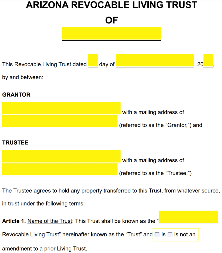Free Arizona Revocable Living Trust Form  Pdf  Word  Eforms In Living Trust Worksheet