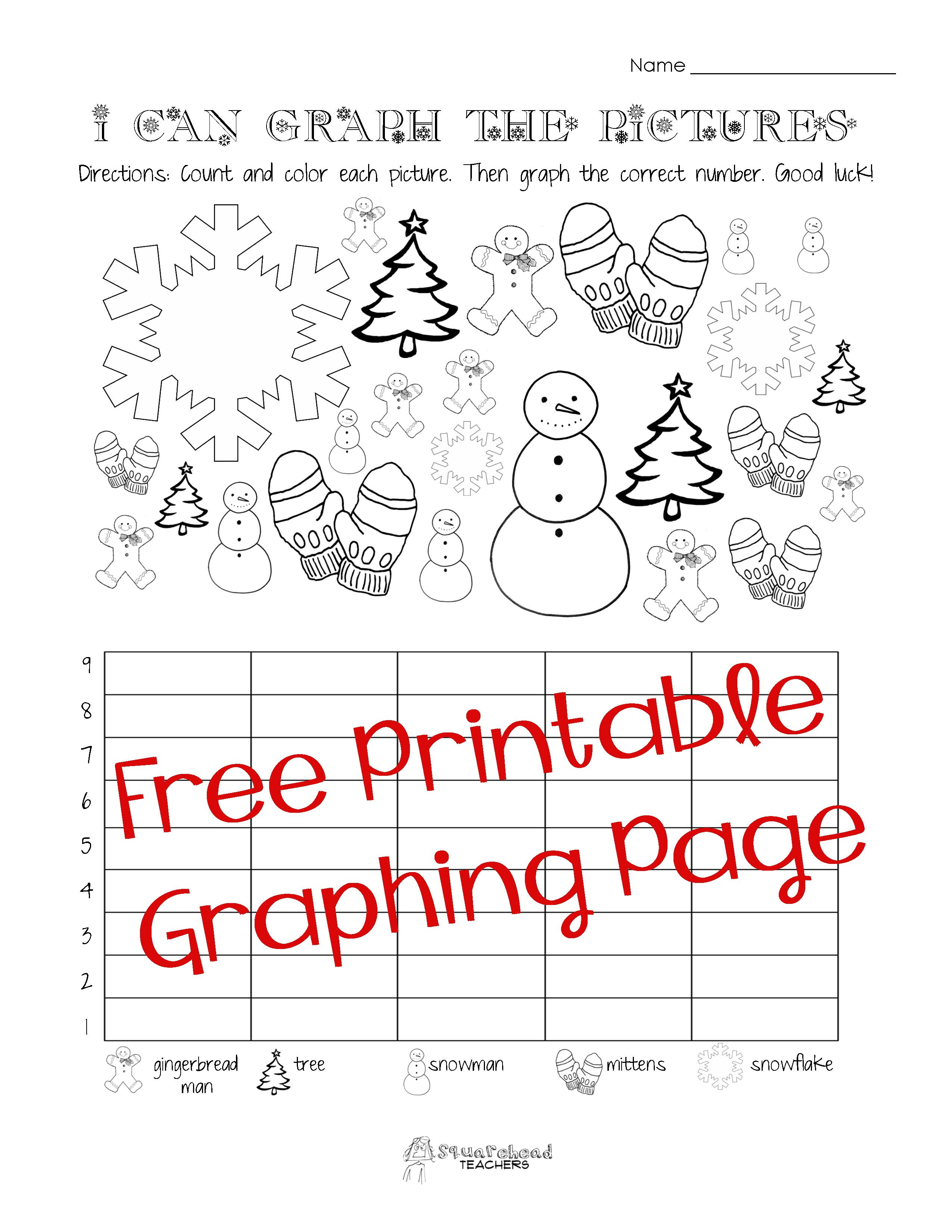 Free Christmaswinter Graphing Worksheet Kindergarten First Grade And Holiday Worksheets For Grade 1