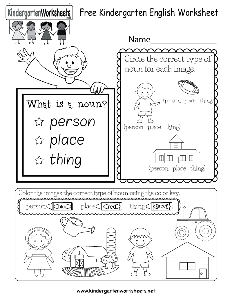 Free Kindergarten English Worksheet For Kindergarten English Worksheets Pdf
