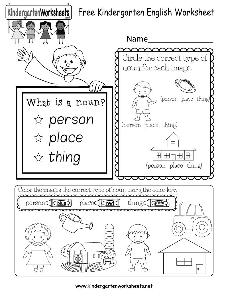 Free Kindergarten English Worksheet Throughout Printable English Worksheets