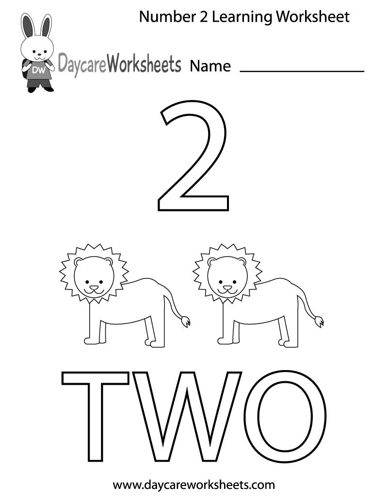 Free Preschool Number Two Learning Worksheet Within Preschool Learning Worksheets