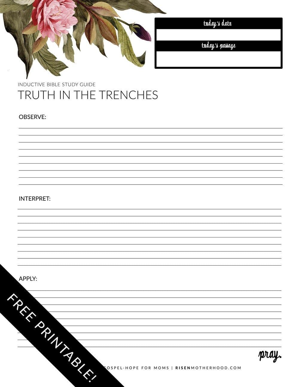 Free Printable Inductive Bible Study Worksheets  Companion Card With Bible Study Worksheets For Adults