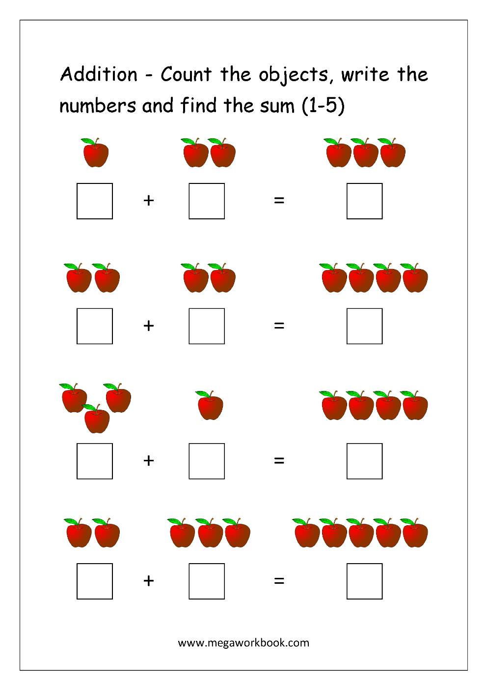 Free Printable Number Addition Worksheets 110 For Kindergarten Along With Counting Techniques Worksheet
