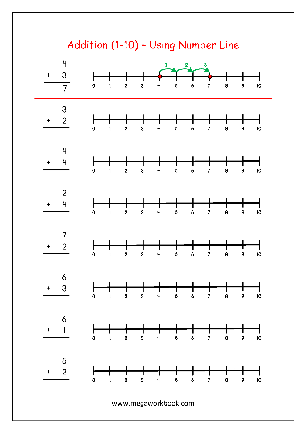 Free Printable Number Addition Worksheets 110 For Kindergarten Or Free Fraction Number Line Worksheets 3Rd Grade