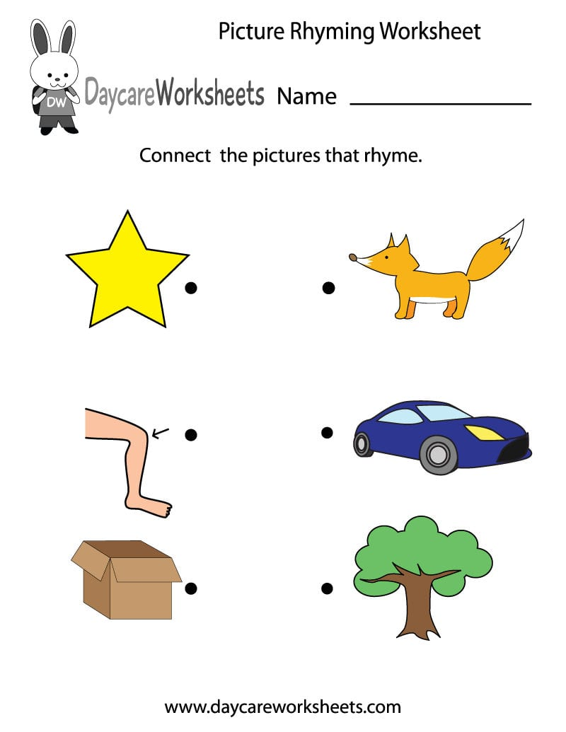 Free Printable Picture Rhyming Worksheet For Preschool For Rhyming Worksheets For Preschoolers