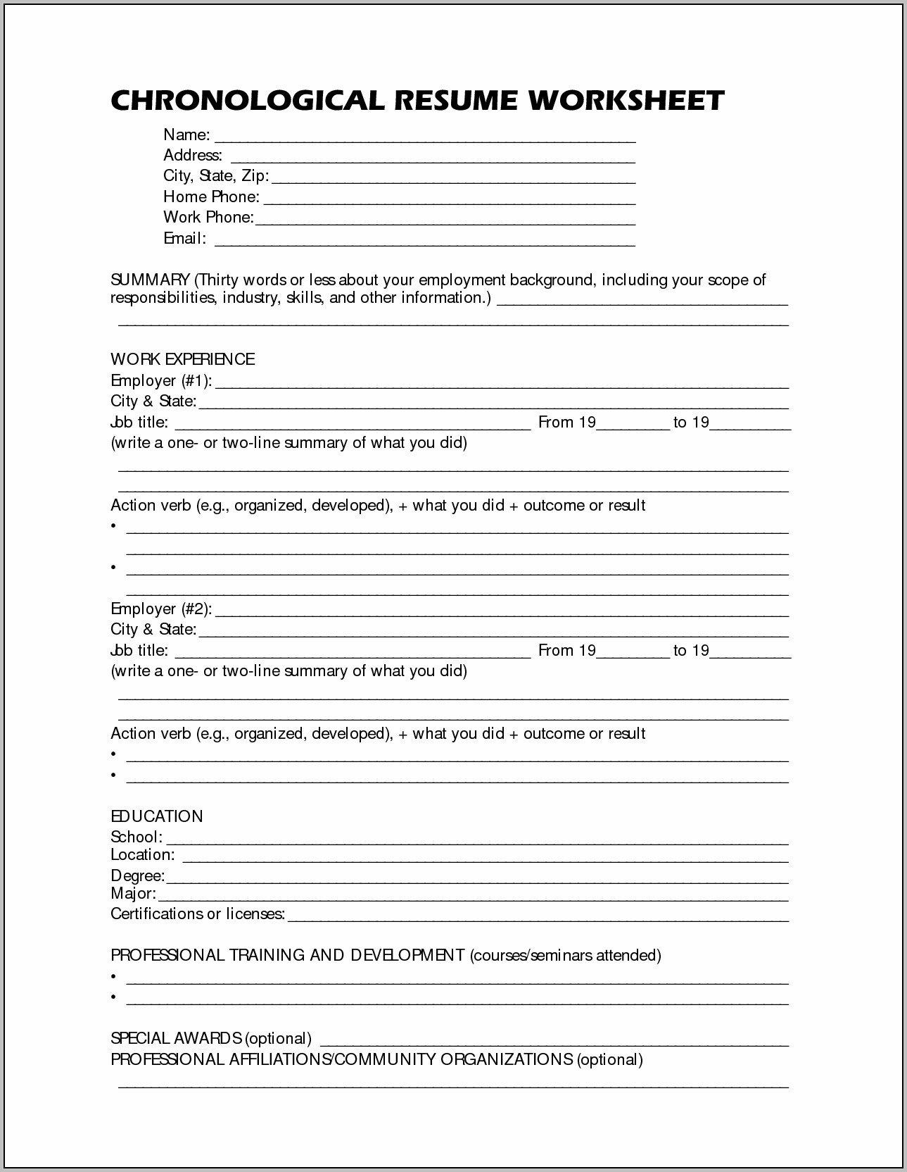 Free Printable Resume Worksheet  Shop Fresh Regarding Resume Worksheet For Adults