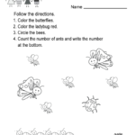 Free Printable Spring Following Directions Worksheet For Kindergarten Within Following Directions Worksheet