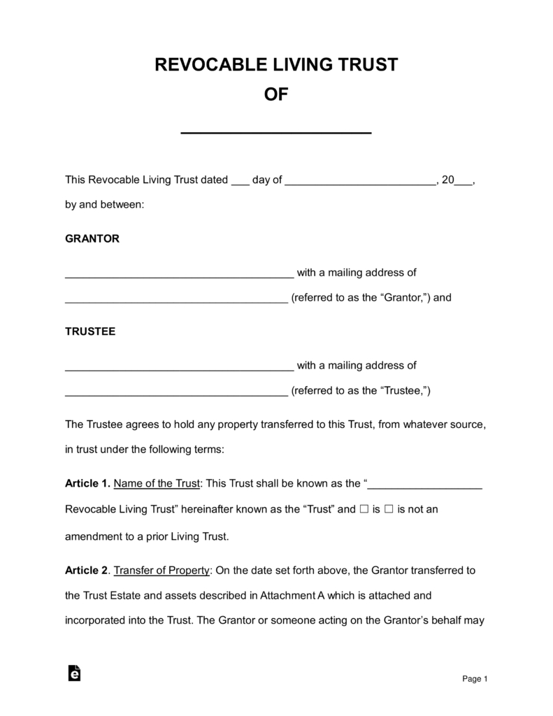 Free Revocable Living Trust Forms  Pdf  Word  Eforms – Free For Living Trust Worksheet