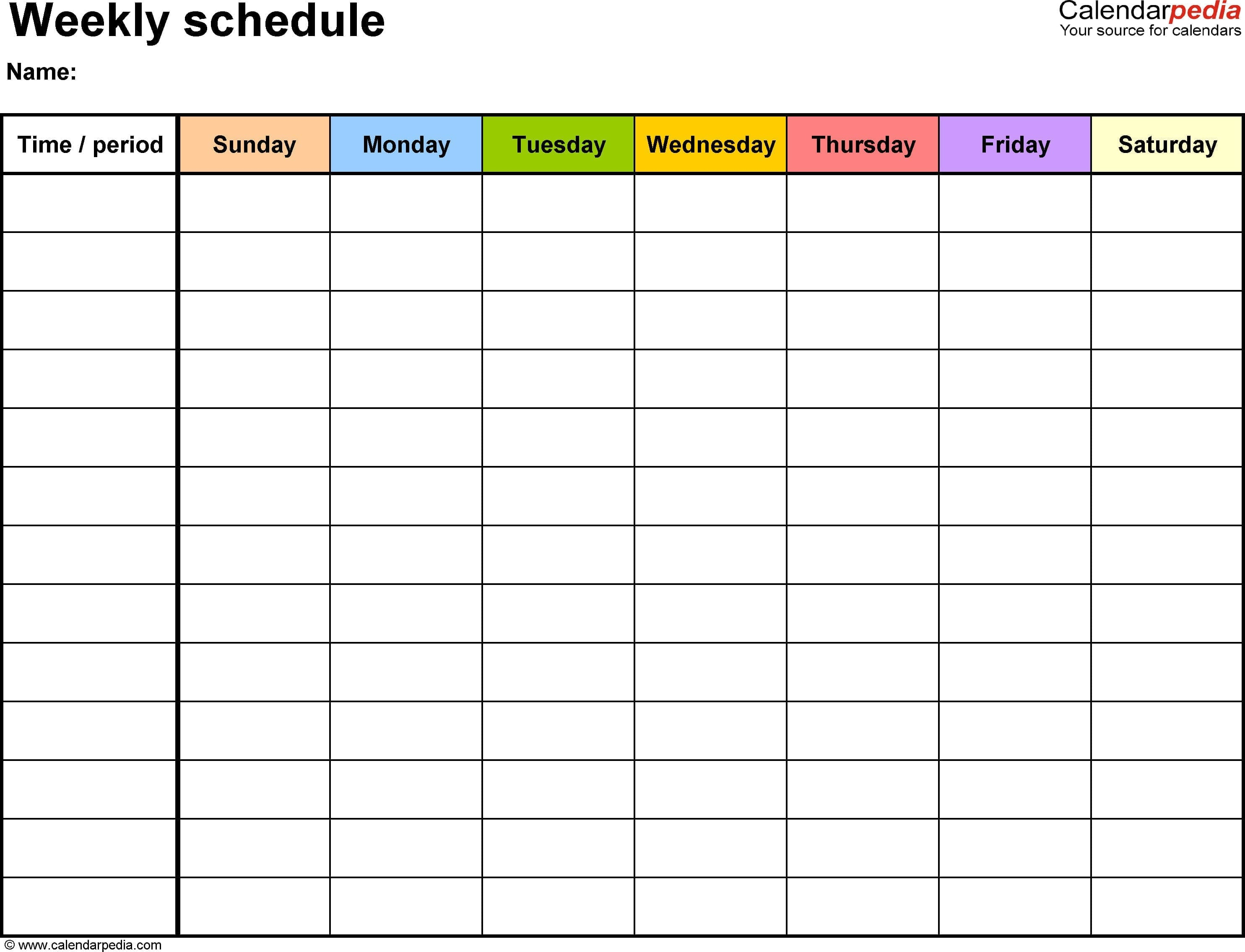 Free Weekly Schedule Templates For Excel  18 Templates With Schedule Worksheet Templates