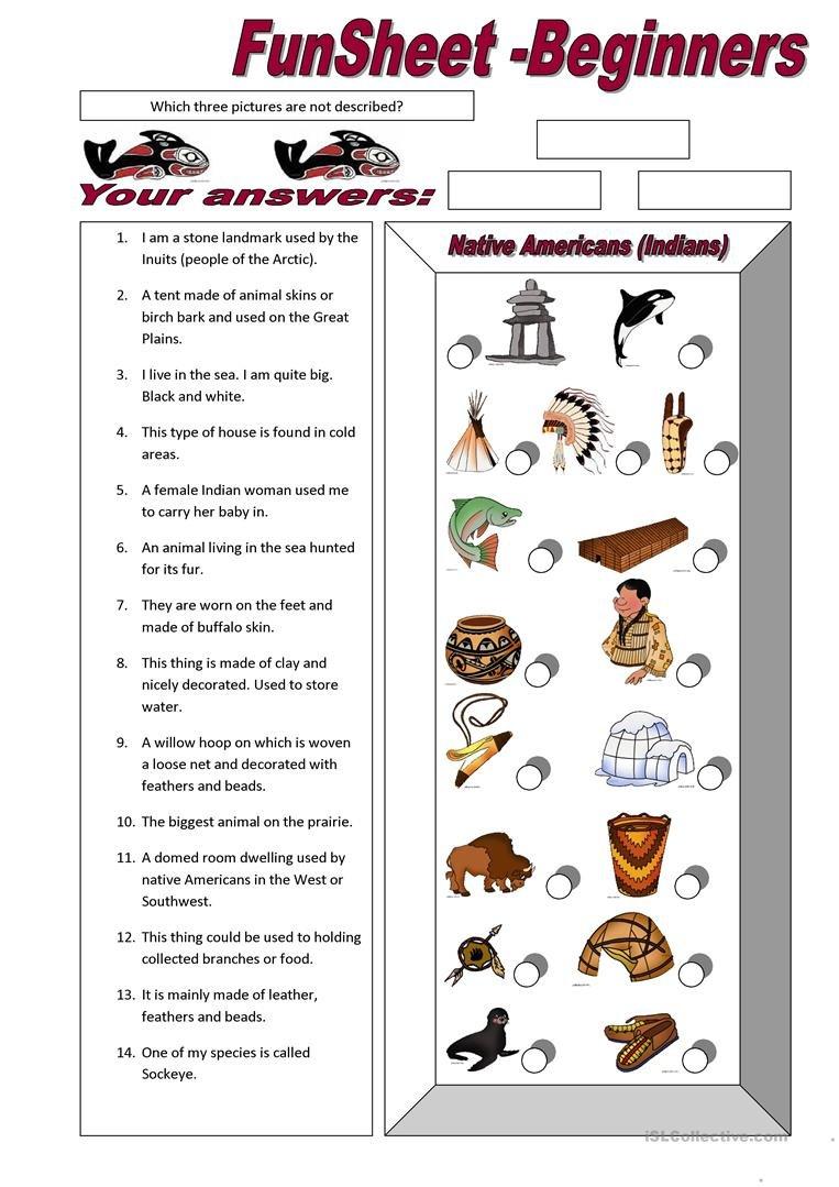 Funsheet For Beginners Native Americans Indians Worksheet  Free Throughout Native American Worksheets