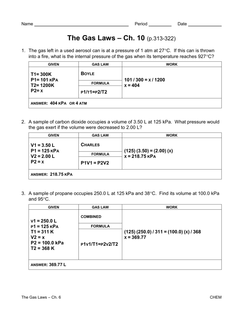 Gas Laws Worksheet  Churchillcollegebiblio Along With Chemistry Gas Laws Worksheet Answers