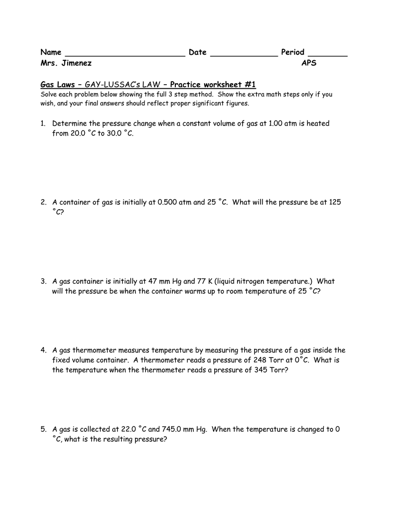 Gaylussac Worksheetproblems Intended For Gas Laws Practice Problems Worksheet Answers