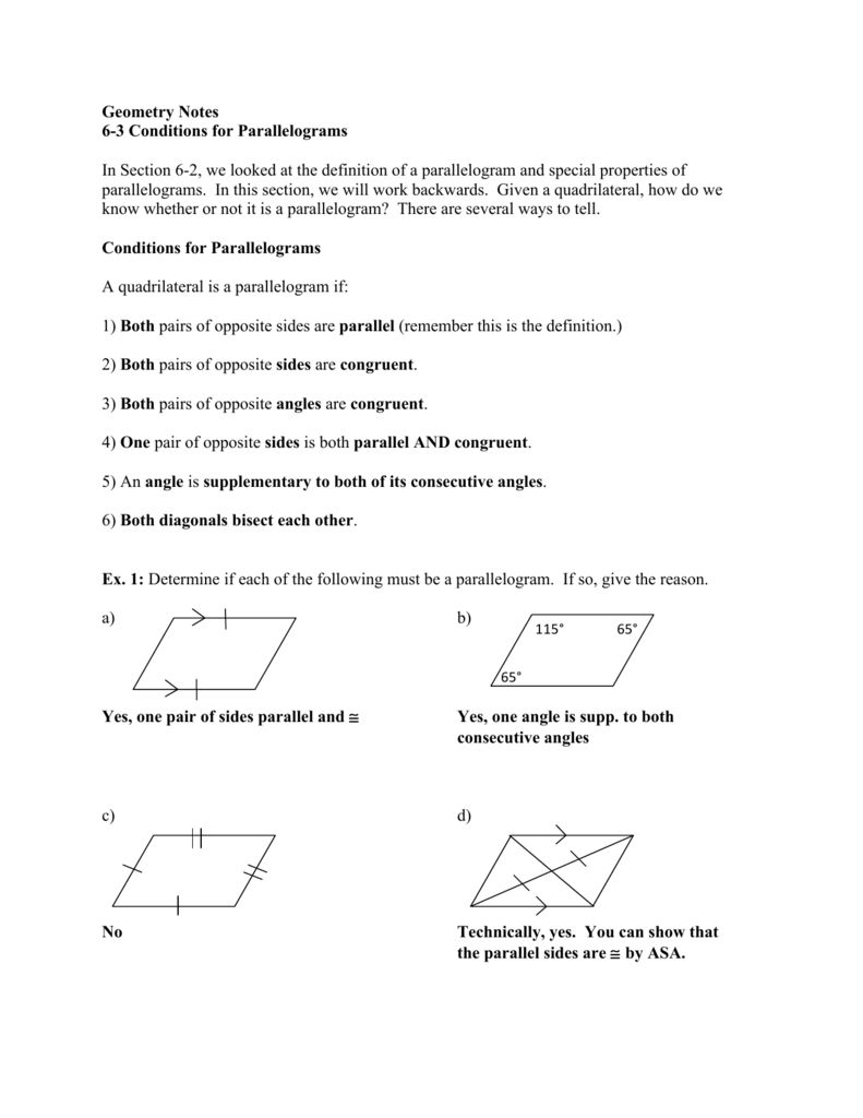 Geometry Notes 63 Conditions For Parallelograms In Section 6 Within Geometry Parallelogram Worksheet Answers