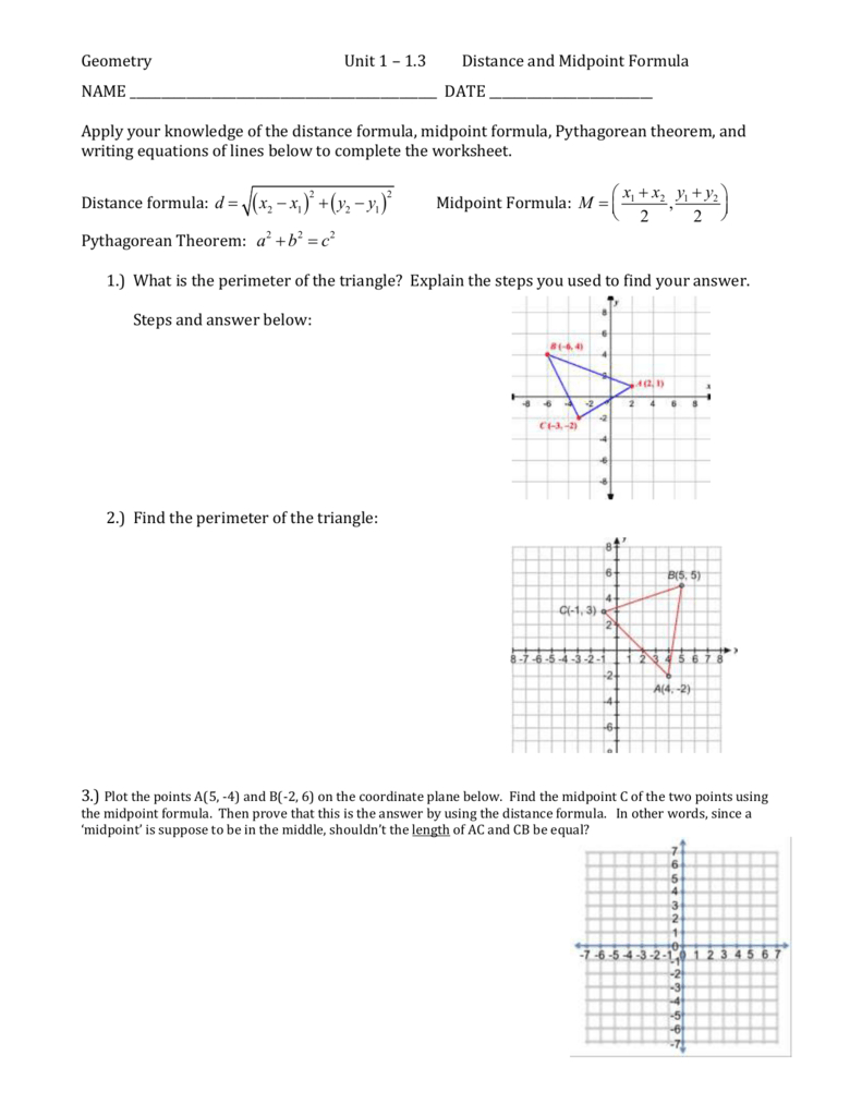 Geometry Unit 1 – 13 Distance And Midpoint Formula Name Date Together With The Midpoint Formula Worksheet