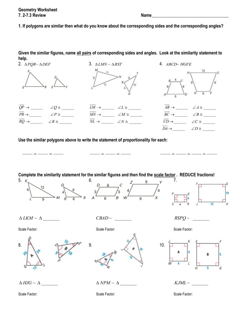Geometry Worksheet Together With Similar Figures Worksheet Answer Key