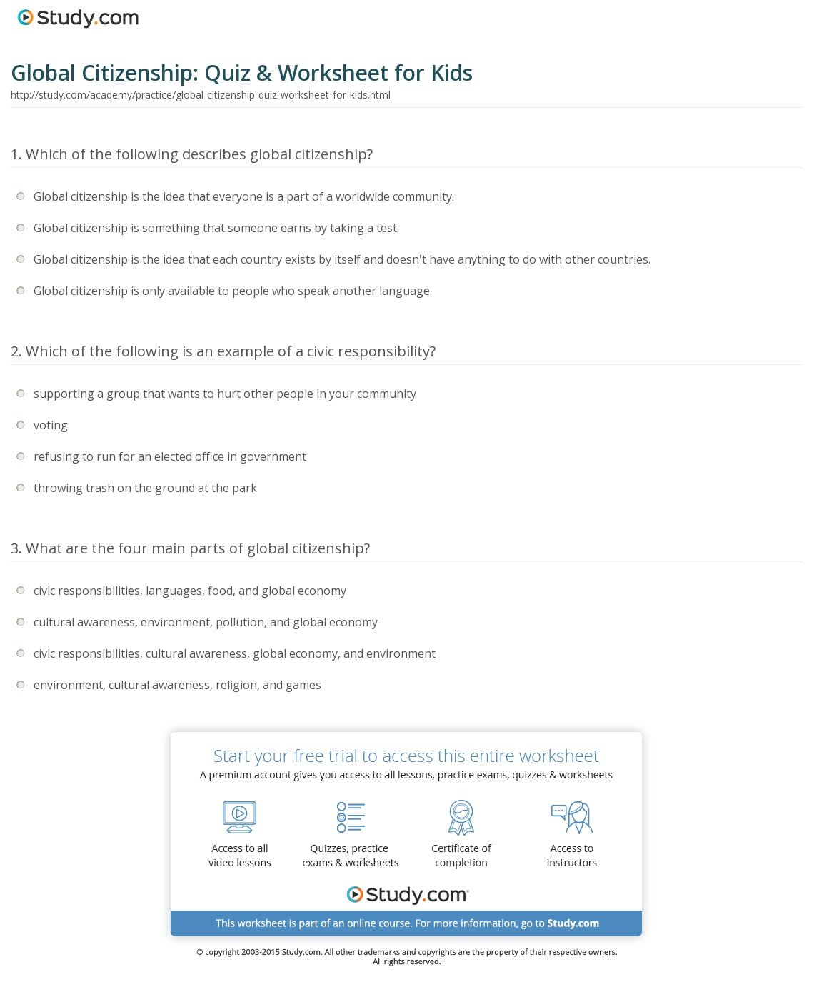 Global Citizenship Quiz  Worksheet For Kids  Study For Citizenship In The World Worksheet