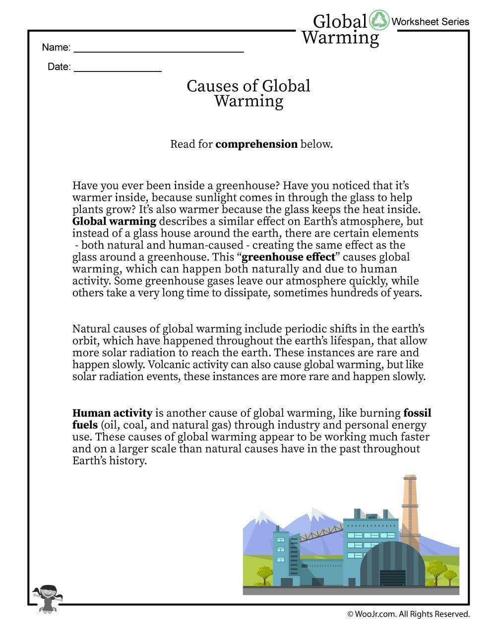 Global Warming Causes Printable Reading Worksheet  Woo Jr Kids Pertaining To Global Warming Worksheet