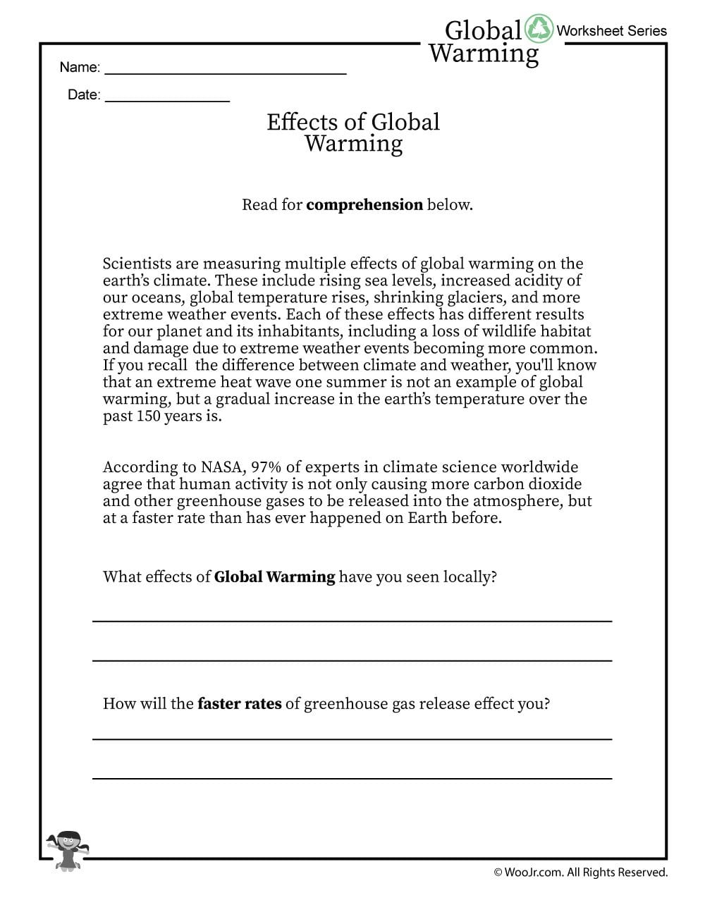 Global Warming Effects Printable Reading Worksheet  Woo Jr Kids Within Global Warming Worksheet